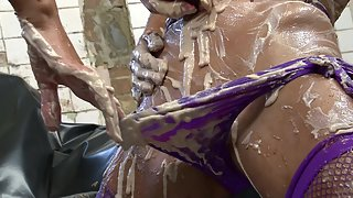 Two Horny Lesbian Girls Pleasuring Each Other In Wet And Messy Food Action