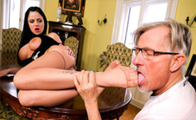 An Old Man Enjoys Young Feet Of The Busty Maid   Fetish Porn