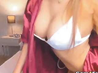 Oozing Hot Busty Chick Fucks Her Pussy