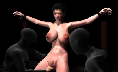 Tied Up Animated Hooker With Big Tits Gets Dildoed 22318
