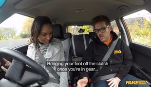 Amateur Ebony Sade Rose Gets Fucked By Fake Driving School Instructor