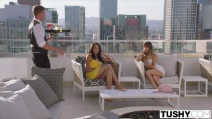 TUSHY Anal Hungry Tourists Avi & Naomi Seduce Bartender