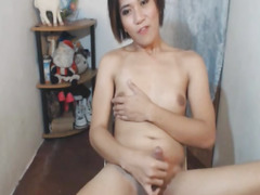Oriental Ladyboy Jerks Off Her Hard Ramrod