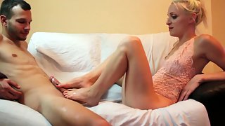 Gorgeous Blonde Amateur Gives Nice Footjob Before Getting Rammed
