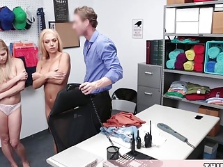 Quickie Rough Threesome With Two Blonde Shoplifter Chicks