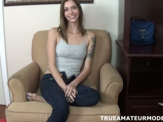 Amateur Brunette Babe Gives A Masturbating POV Handjob  True Amateur Models