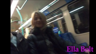 Jerking Off A Stranger In London Public Train . Real Risky Amateur Outdoor Handjob By ELLA BOLT
