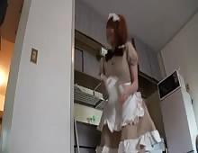 Redhead Japan Maid Okama Creampie Fucked
