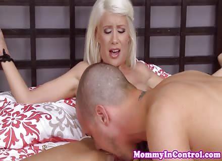 Stepmom Jerking In Threeway With Busty Babe 2