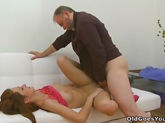 This Crazy Teen Doll Has Her Perfect Pussy Taking An Old Guy