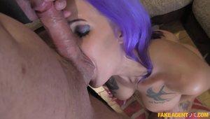 Big Ass Slut Alexxa With Purple Hair Takes Big Cock